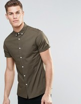 Asos Skinny Shirt With Button Down Collar And Short Sleeves In Khaki