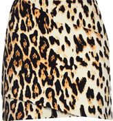 River Island Womens Brown leopard print wrap mini skirt