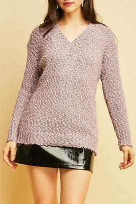 Entro Fuzzy V-Neck Sweater
