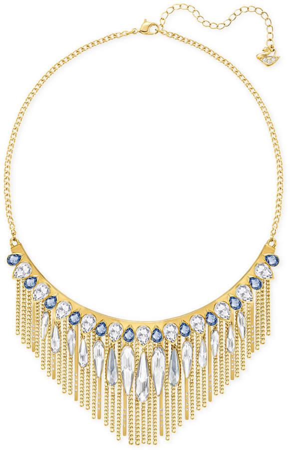 Swarovski Gold-Tone Blue & Clear Crystal Fringed Necklace