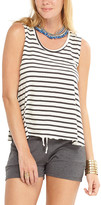 Lagaci Women's Tank Tops White - White & Gray Stripe Side-Slit Tank - Women