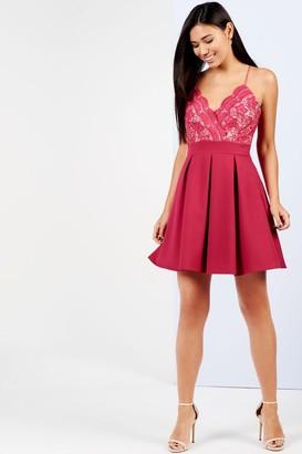 Girls On Film Raspberry Lace Top Skater Dress