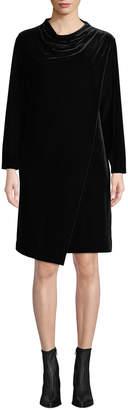Joan Vass Long-Sleeve Draped-Front Velvet Dress w/ Side Pockets