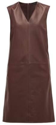 Joseph Gwen-matt V-neck Panelled-leather Dress - Womens - Burgundy