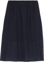 Tibi Broderie anglaise cotton midi skirt