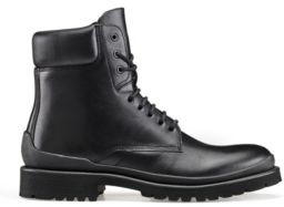 HUGO Ankle boots in matte leather with reversed-logo collar