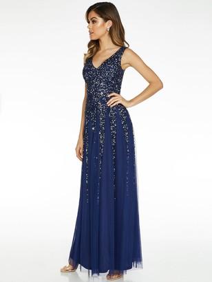 Quiz Sequin Embellished V-Neck Sleeveless Maxi Dress - Blue