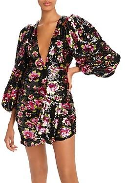 For Love & Lemons Morrison Rose Sequin Mini Dress