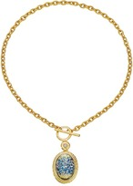 Kenneth Jay Lane Satin Gold/Crystal/Blue Opal Oval Toggle Necklace