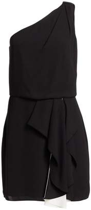 Halston One-Shouldered Colorblocked Short Dress