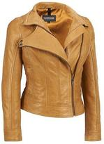 Black Rivet Womens Asymmetric Snap Tab Neck Leather Jacket