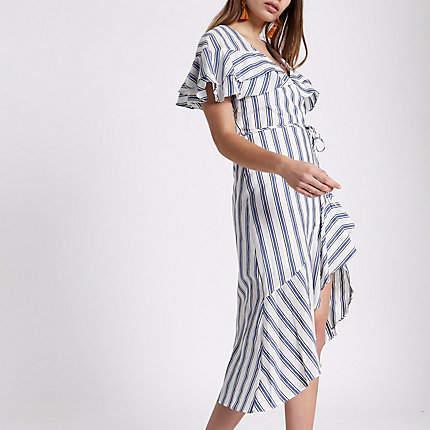 River Island Womens Blue stripe frill tie waist midi dress