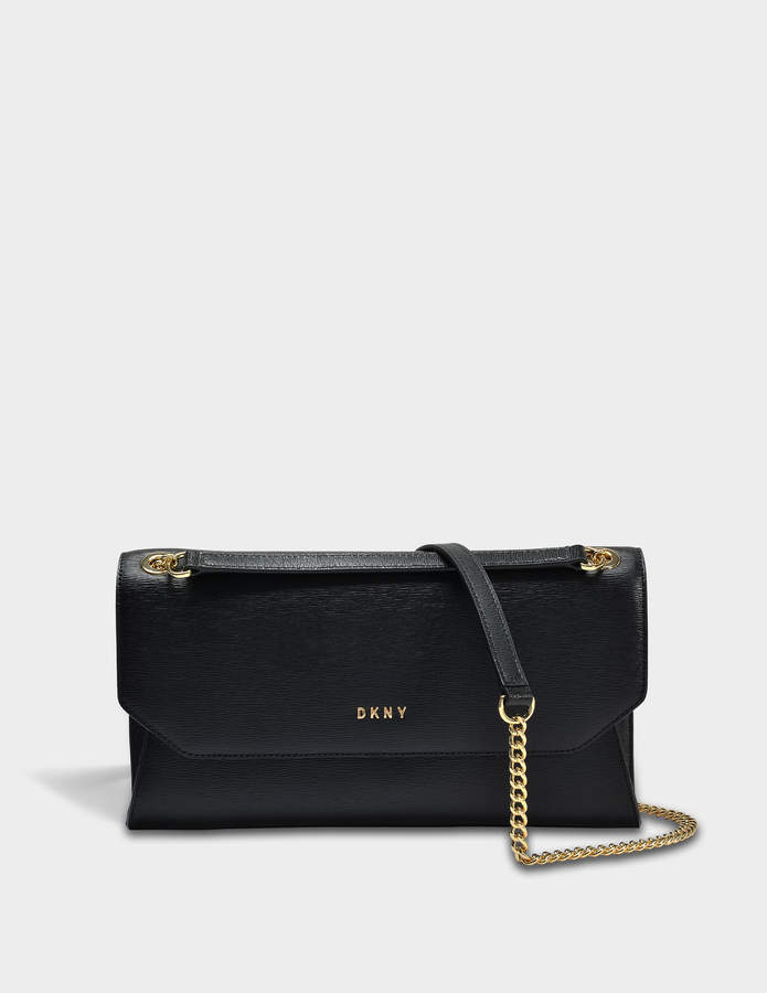 DKNY Sutton Envelope Clutch Bag in Black Textured Leather
