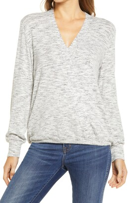Bobeau Cozy Space Dye Surplice Knit Top