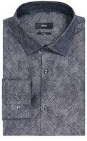 HUGO BOSS Crosshatch Italian Cotton Dress Shirt, Slim Fit Jenno 17.5Grey