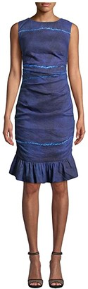 Nicole Miller Shibori Stripe Lauren Dress with Ruffle Bottoms (Shibori Stripe Indigo) Women's Clothing