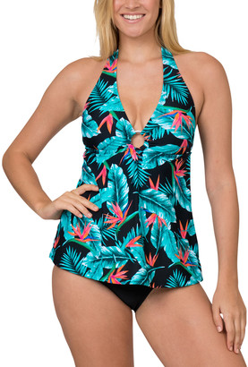 Caribbean Sand Women's One Piece Swimsuits Floral - Black & Green Floral Halter One-Piece - Women