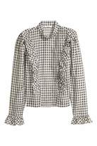 H&M Puff-sleeved Ruffled Blouse