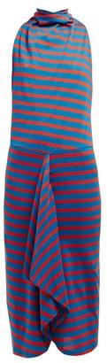 Atlein - Striped Cowl Neck Cotton Midi Dress - Womens - Blue Multi