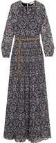 MICHAEL Michael Kors Pleated Printed Metallic Georgette Maxi Dress - Navy