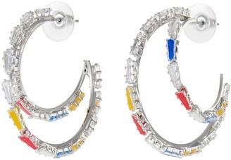 Venna Baguette Crystal Double Hoop Earrings