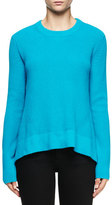 Proenza Schouler Jewel-Neck Arched-Hem Sweater, Turquoise