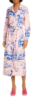 Sies Marjan Floral Print Crepe Long Sleeve Midi Shirtdress