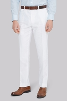 Moss Bros Tailored Fit White Linen Trousers