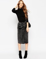 Asos Wrap Pencil Skirt in Faux Fur with Button Detail
