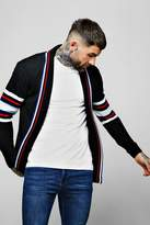 BoohooMAN Knitted Cardigan With Stripe Detail