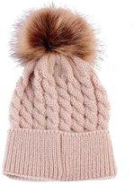 FTXJ Cute Winter Baby Hats Fur Plush Ball Knitted Wool Hemming Hat