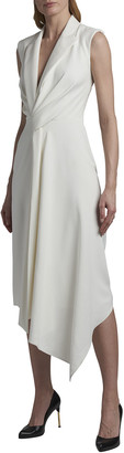 Alexander McQueen Leaf Crepe V-Neck Gathered Tuxedo Midi Dress