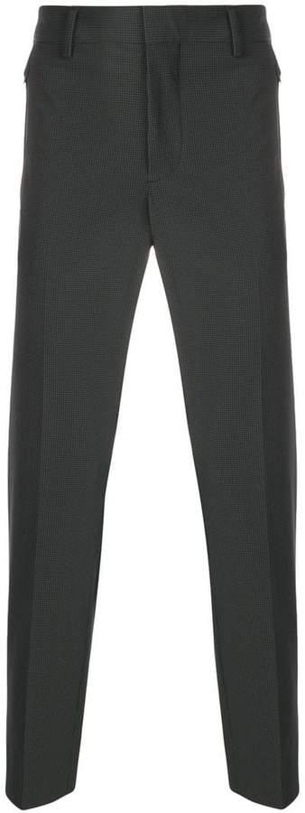 Prada checked slim fit trousers