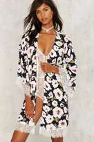 Factory Grow Means Grow Floral Kimono Robe - Blue