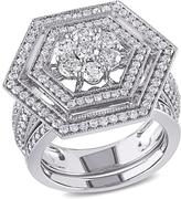 Ice Julie Leah 2 CT TW Diamond Encrusted Bridal Set in 10K Polished White Gold