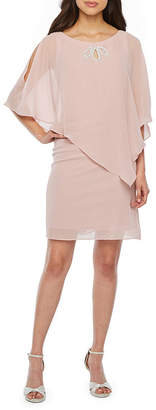 SL Fashions S. L. Fashions 3/4 Sleeve Embellished Sheath Dress