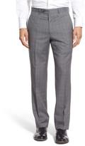 Santorelli Flat Front Plaid Wool Trousers