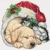 Dimensions Petite Counted Cross-Stitch Kit - Christmas Morning Pets