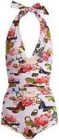 Dolce & Gabbana All The Lovers-print halterneck swimsuit