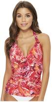 Lauren Ralph Lauren Exotic Paisley Halterkini Top with Molded Cups Women's Swimwear