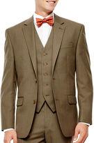 Izod Light Brown Sharkskin Suit Jacket - Classic Fit