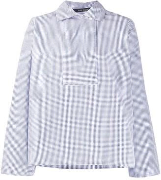 Sofie D'hoore Gingham Print Bib Front Cotton Shirt