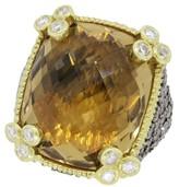 Judith Ripka 18K Yellow Gold Champagne Quartz & 2.05ct Diamond Ring Size 6
