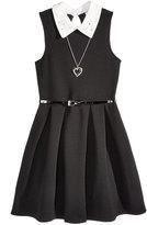 Beautees Lace Collar Dress & Necklace Set, Big Girls (7-16)