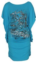 GirlsWalk Girls Walk Women's Real Love Foil Glitter Butterfly Print Slouch Batwing Top