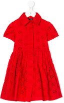 Oscar De La Renta Kids - perforated detail dress - kids - Cotton - 2 yrs