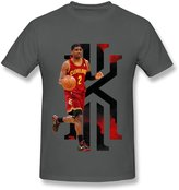 Fire-Dog-Custom Tees Men's Cleveland Cavaliers Kyrie Irving O-neck T Shirts Size L DeepHeather