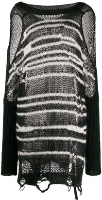 Diesel cold shoulder striped knit jumper