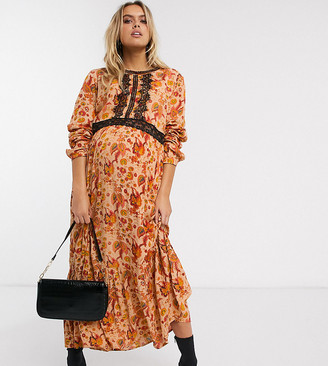 Mama Licious Mamalicious Maternity maxi dress with lace insert in rust paisley