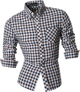jeansian Men's Slim Fit Long Sleeves Casual Shirts 8523 S